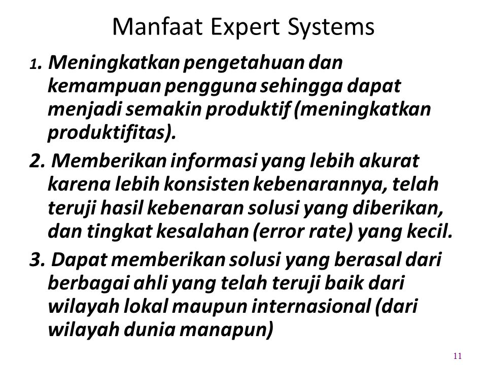 Manfaat Expert Systems