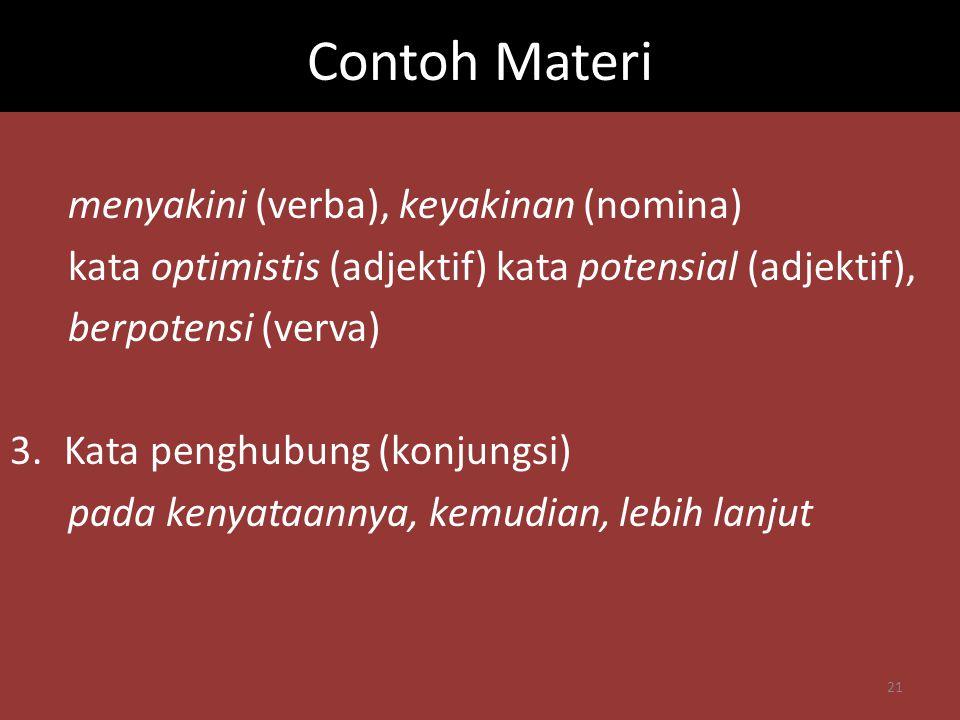 Contoh Materi menyakini (verba), keyakinan (nomina)