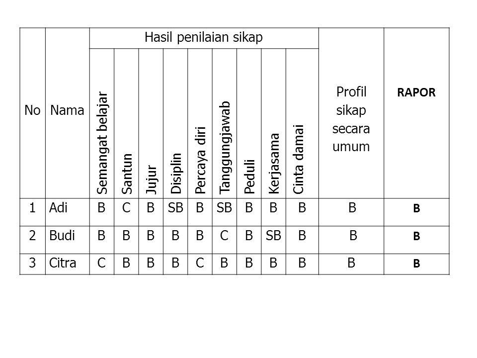 Profil sikap secara umum