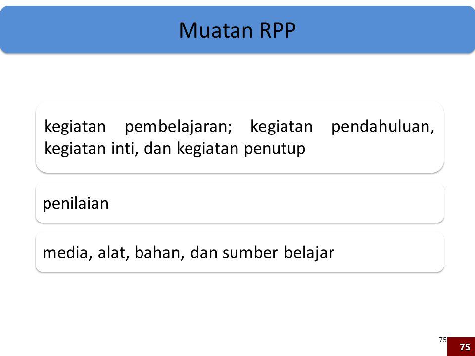 Muatan RPP kegiatan pembelajaran; kegiatan pendahuluan, kegiatan inti, dan kegiatan penutup. penilaian.