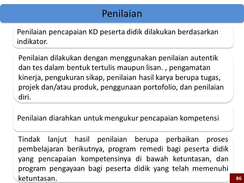 Penilaian Penilaian pencapaian KD peserta didik dilakukan berdasarkan indikator.