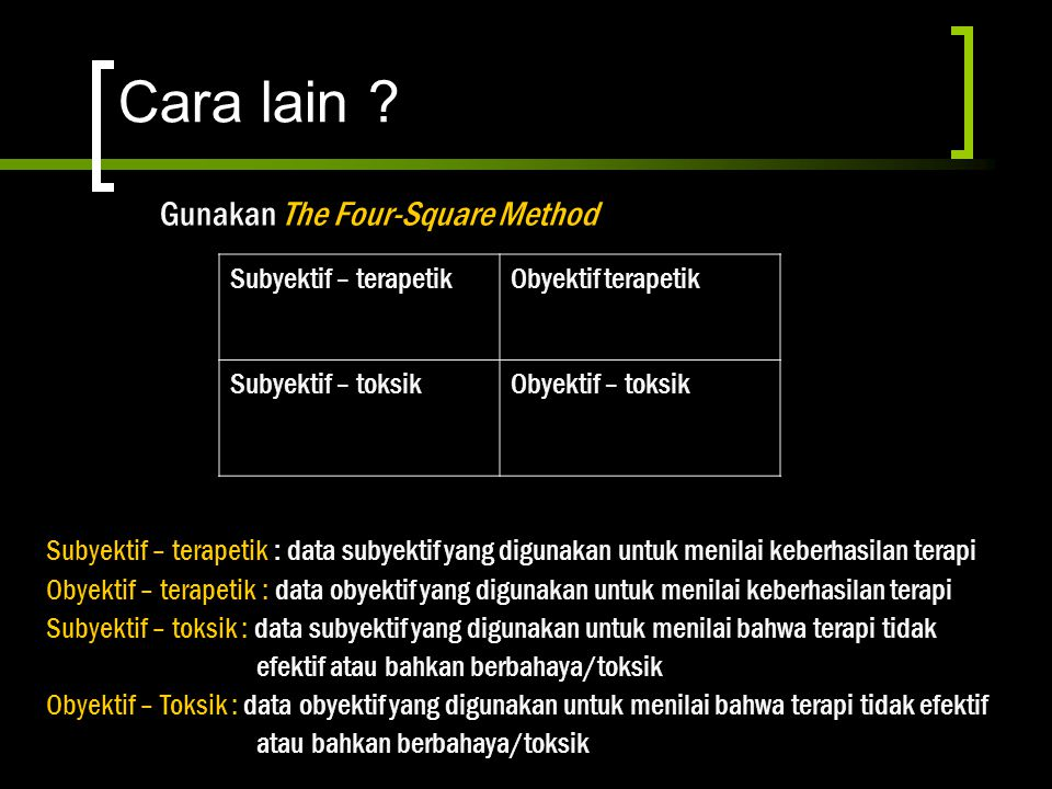 Cara lain Gunakan The Four-Square Method Subyektif – terapetik