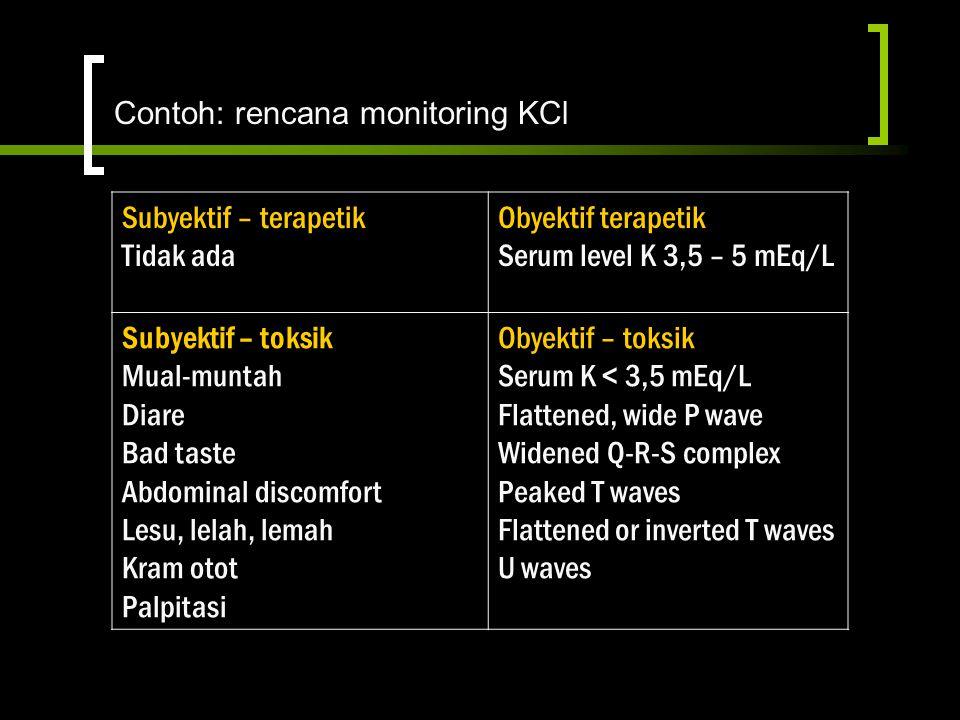 Contoh: rencana monitoring KCl