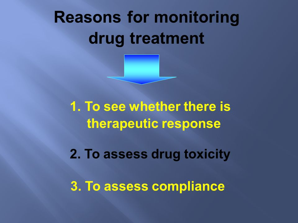 Reasons for monitoring 2. To assess drug toxicity
