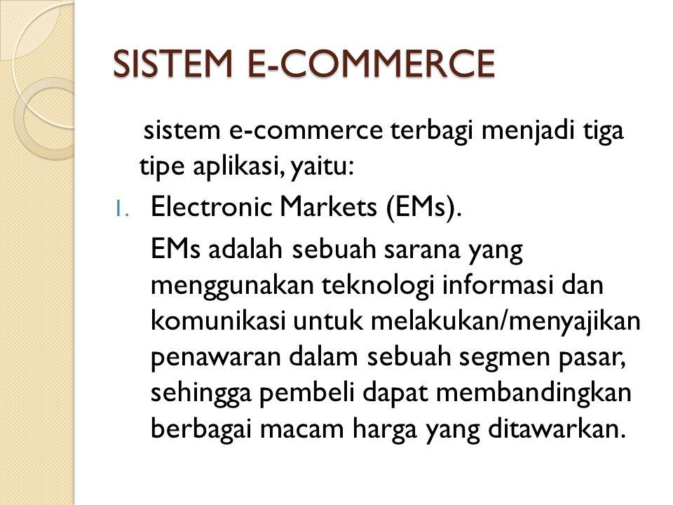 SISTEM E-COMMERCE sistem e-commerce terbagi menjadi tiga tipe aplikasi, yaitu: Electronic Markets (EMs).