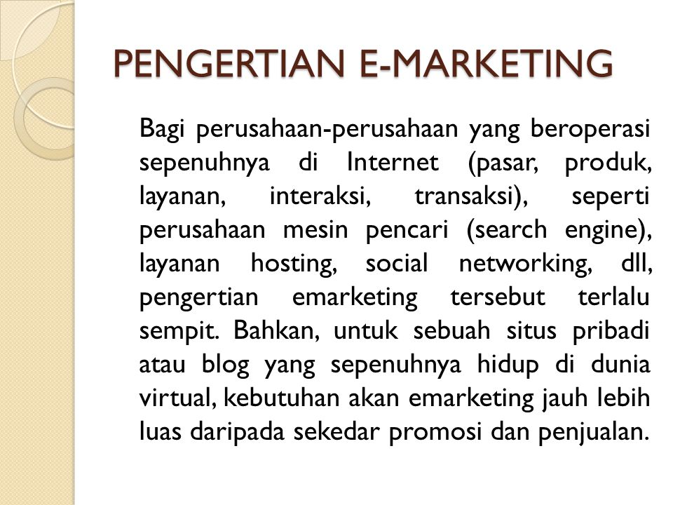 PENGERTIAN E-MARKETING