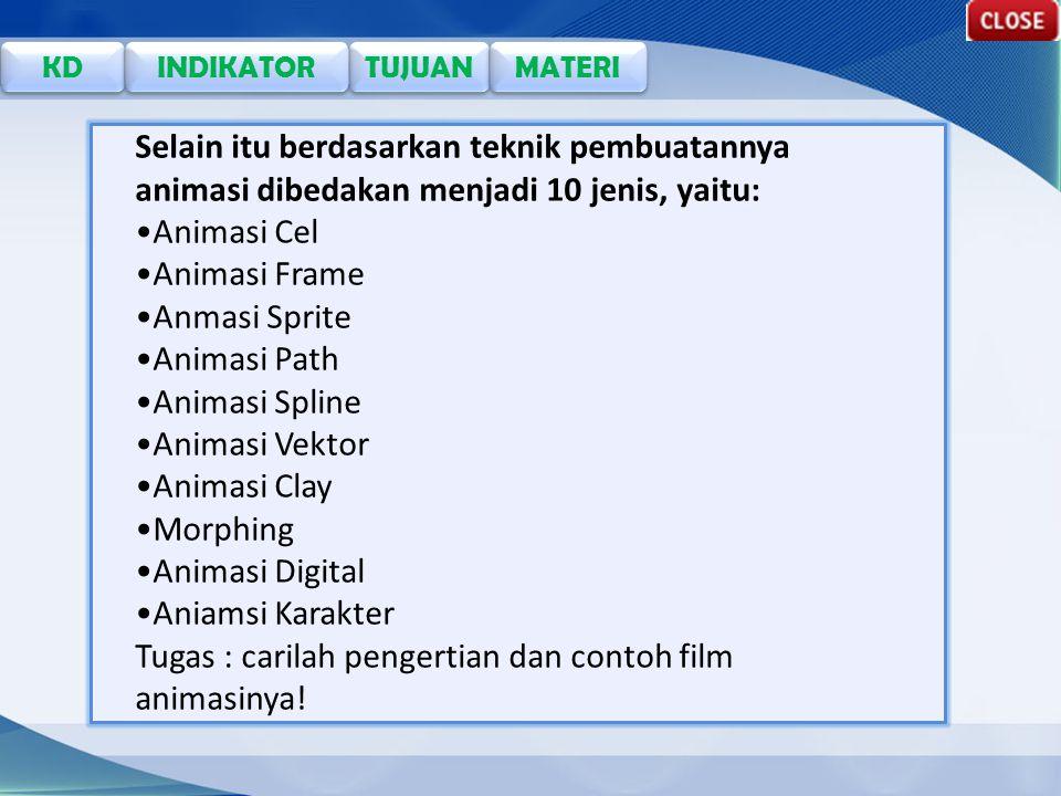 Selain itu berdasarkan teknik pembuatannya animasi dibedakan menjadi 10 jenis, yaitu: