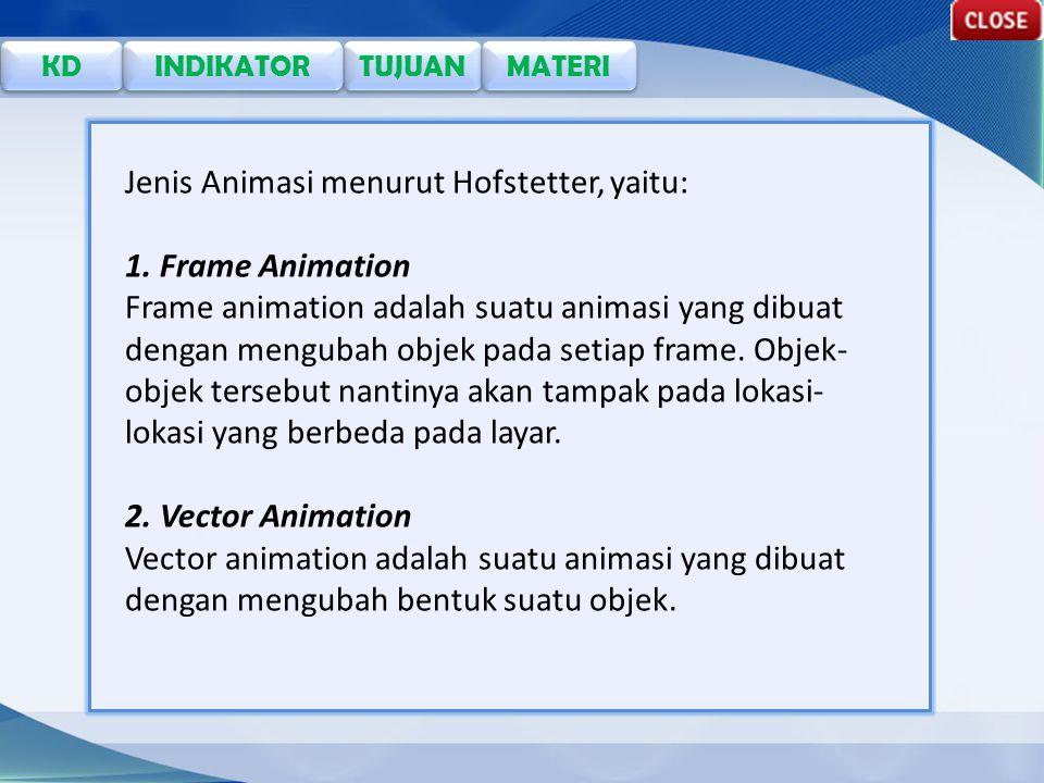 Jenis Animasi menurut Hofstetter, yaitu: