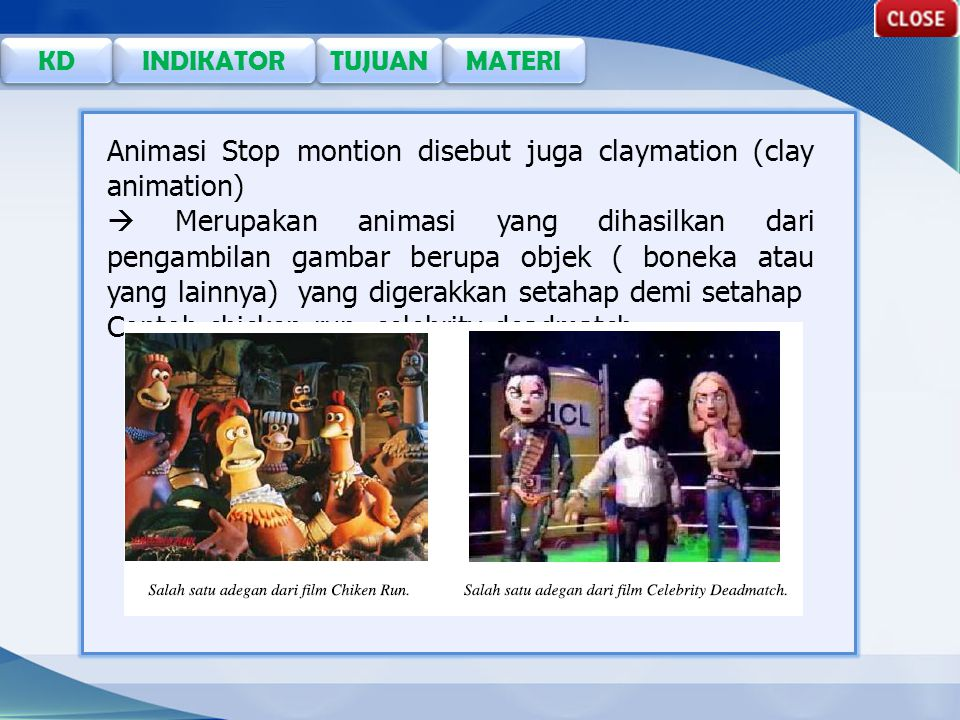 Animasi Stop montion disebut juga claymation (clay animation)