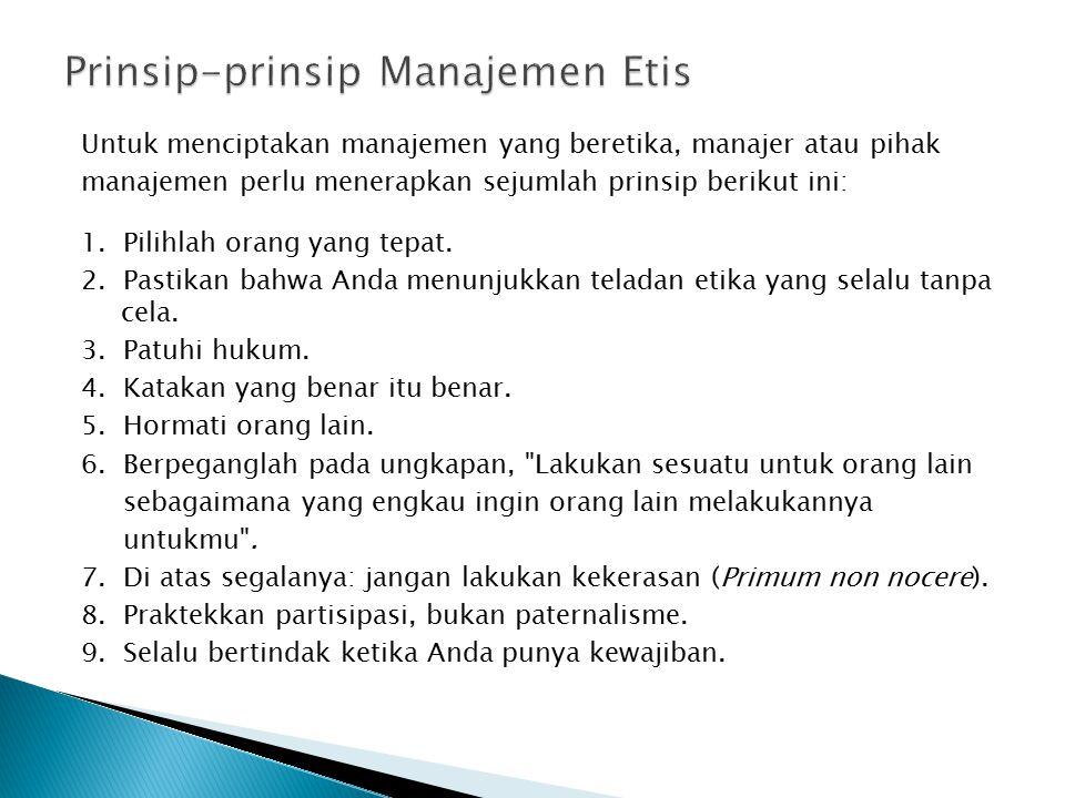 Prinsip-prinsip Manajemen Etis