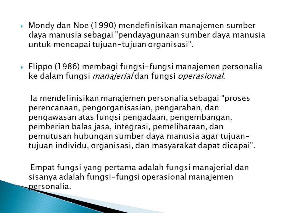 Mondy dan Noe (1990) mendefinisikan manajemen sumber daya manusia sebagai pendayagunaan sumber daya manusia untuk mencapai tujuan-tujuan organisasi .