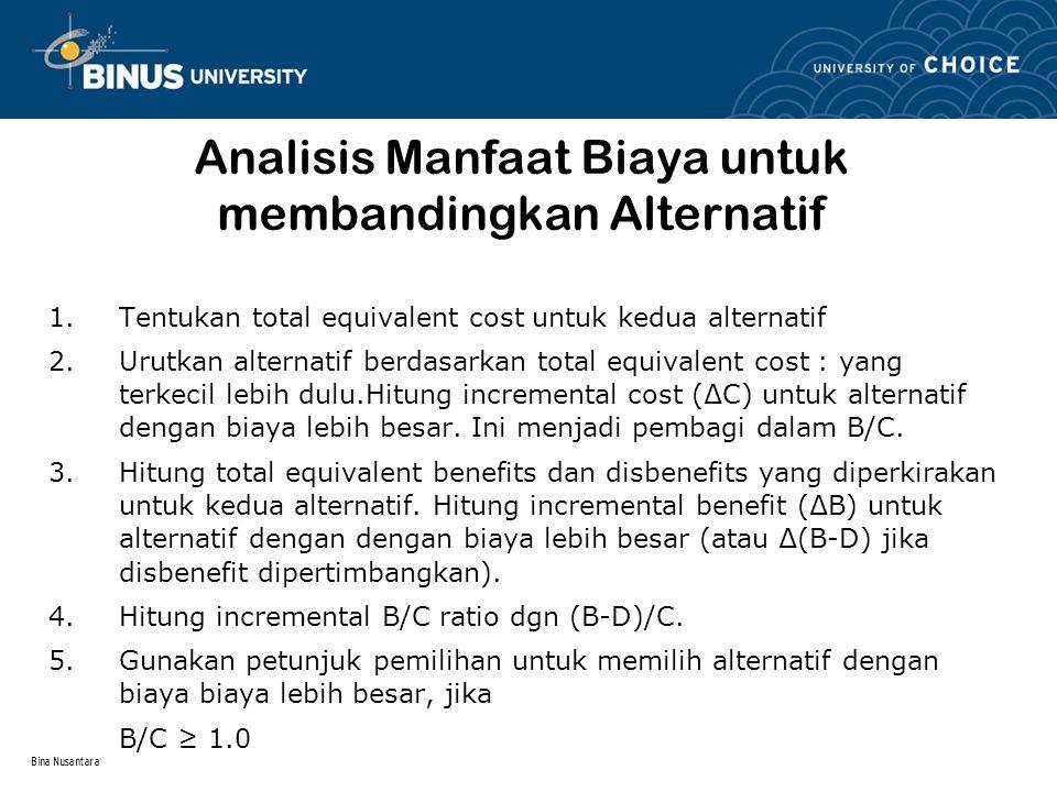 Analisis Manfaat Biaya untuk membandingkan Alternatif