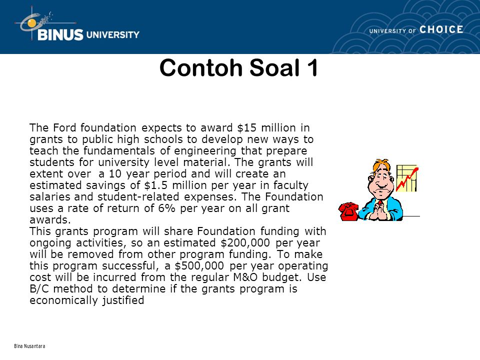 Contoh Soal 1 The Ford foundation expects to award $15 million in