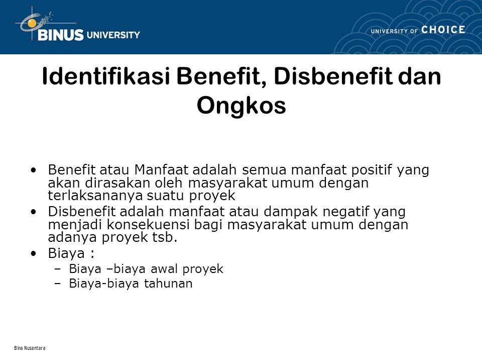 Identifikasi Benefit, Disbenefit dan Ongkos