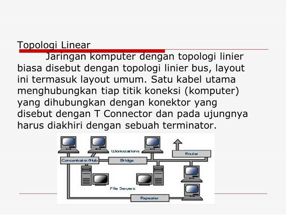 Topologi Linear Jaringan komputer dengan topologi linier biasa disebut dengan topologi linier bus, layout ini termasuk layout umum.