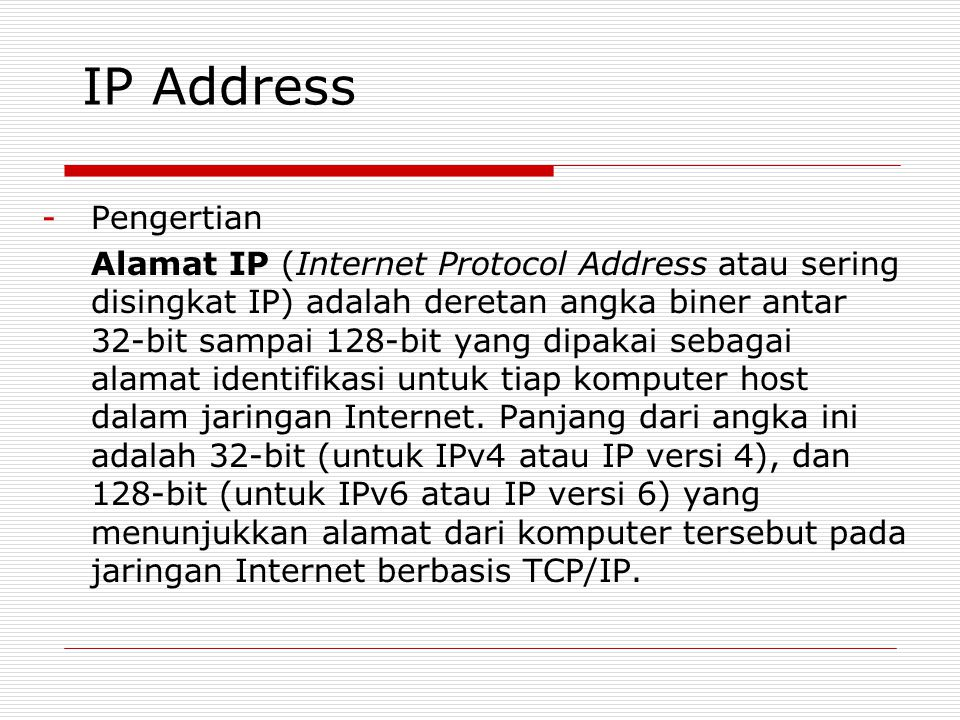 IP Address Pengertian.