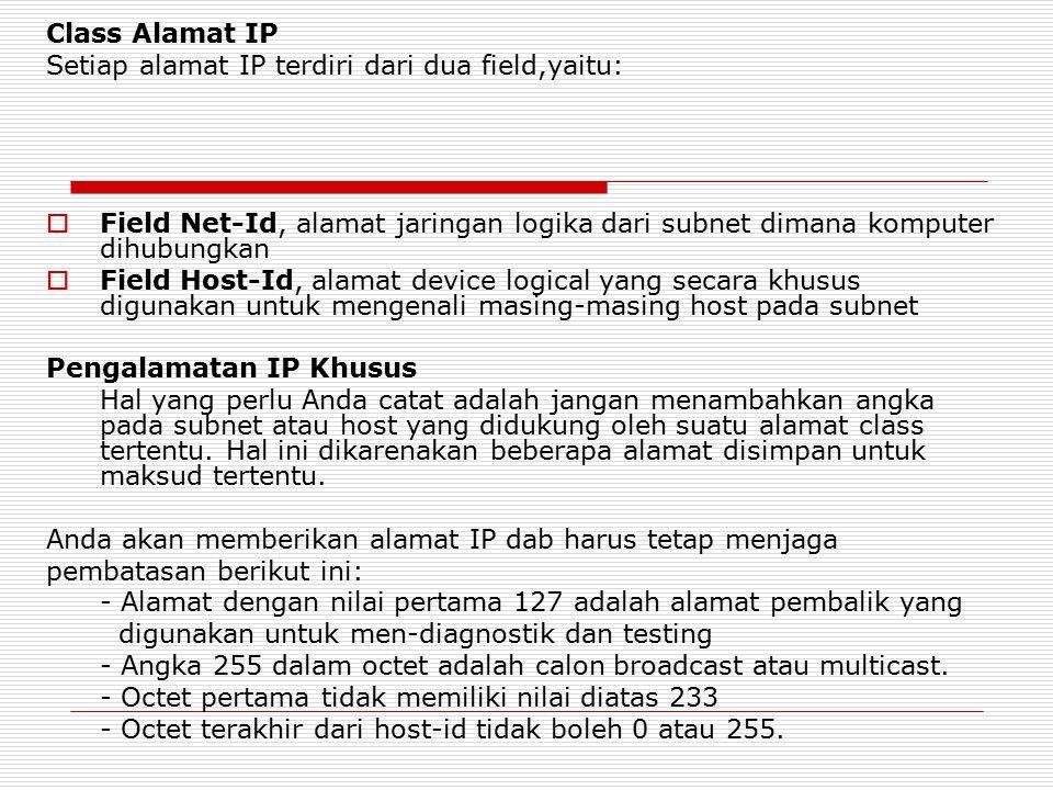Class Alamat IP Setiap alamat IP terdiri dari dua field,yaitu: Field Net-Id, alamat jaringan logika dari subnet dimana komputer dihubungkan.