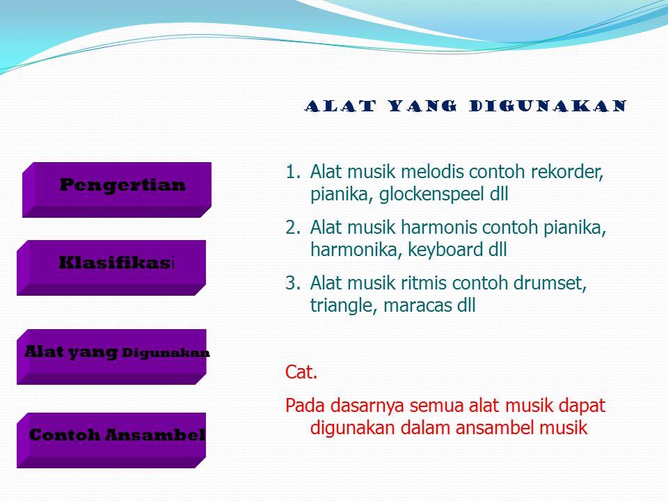 Alat musik melodis contoh rekorder, pianika, glockenspeel dll