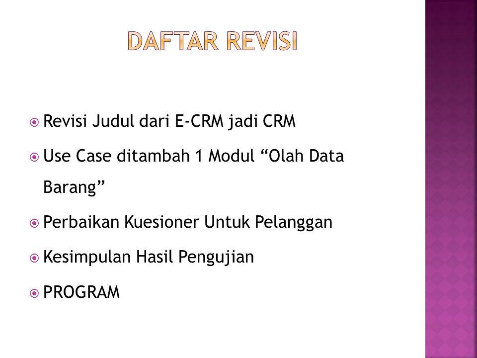 DAFTAR REVISI Revisi Judul dari E-CRM jadi CRM