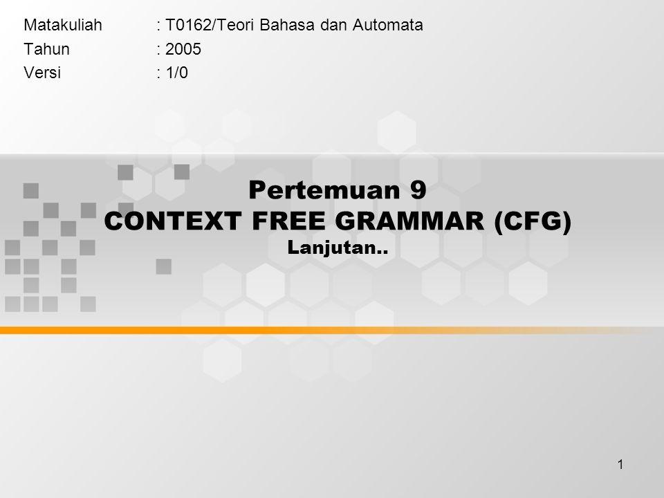 Pertemuan 9 CONTEXT FREE GRAMMAR (CFG) Lanjutan..
