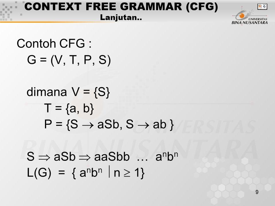 CONTEXT FREE GRAMMAR (CFG) Lanjutan..