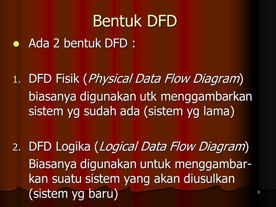 Bentuk DFD Ada 2 bentuk DFD : DFD Fisik (Physical Data Flow Diagram)