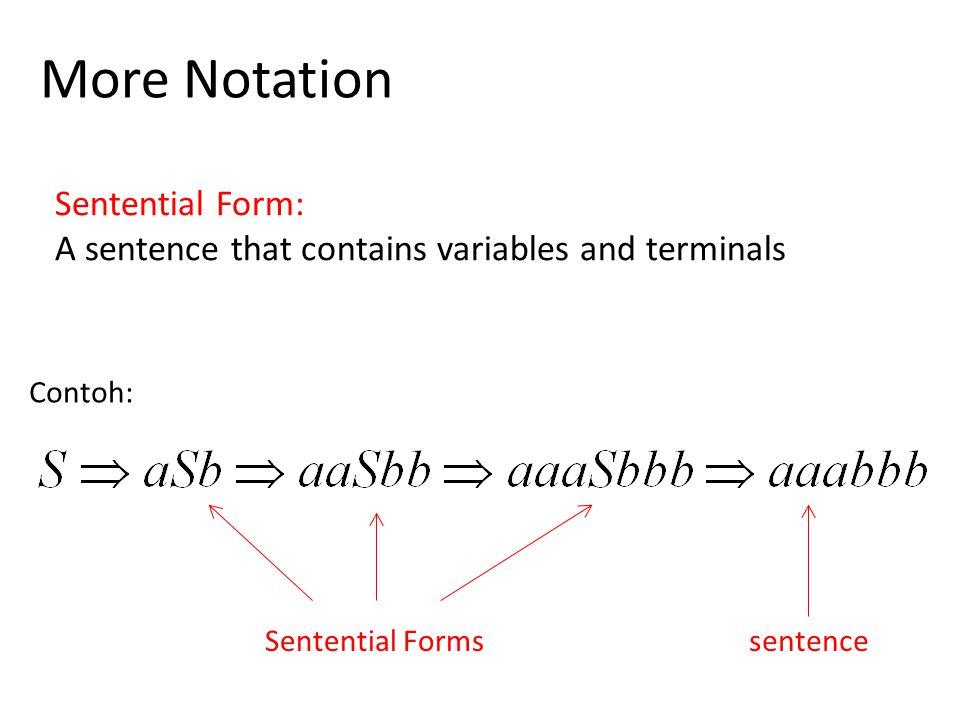 More Notation Sentential Form: