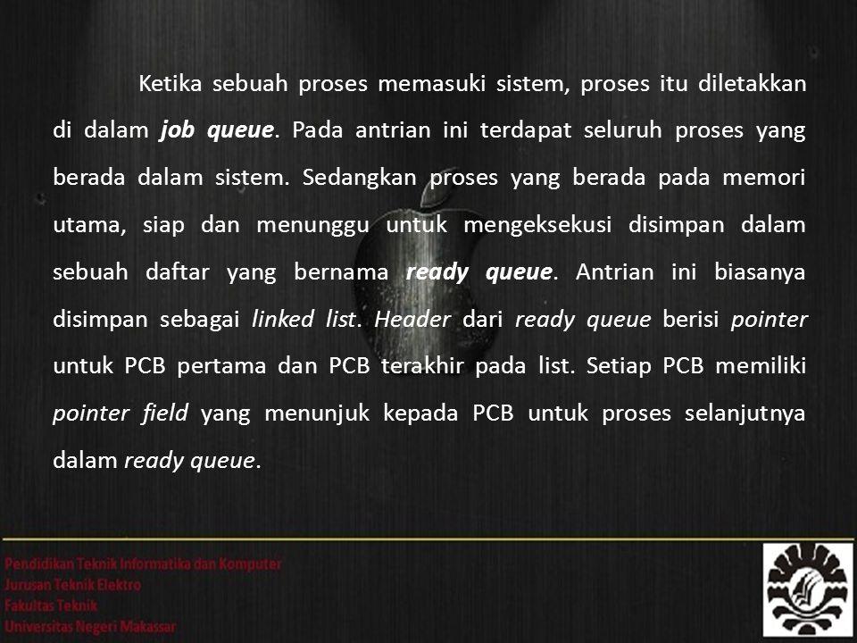 Ketika sebuah proses memasuki sistem, proses itu diletakkan di dalam job queue.