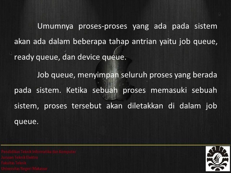Umumnya proses-proses yang ada pada sistem akan ada dalam beberapa tahap antrian yaitu job queue, ready queue, dan device queue.