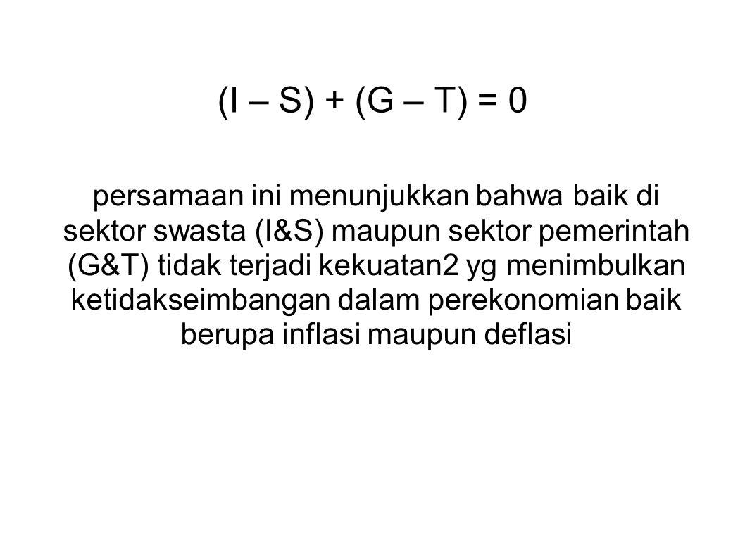 (I – S) + (G – T) = 0