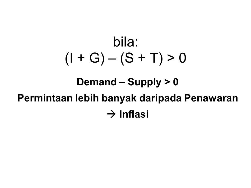 bila: (I + G) – (S + T) > 0