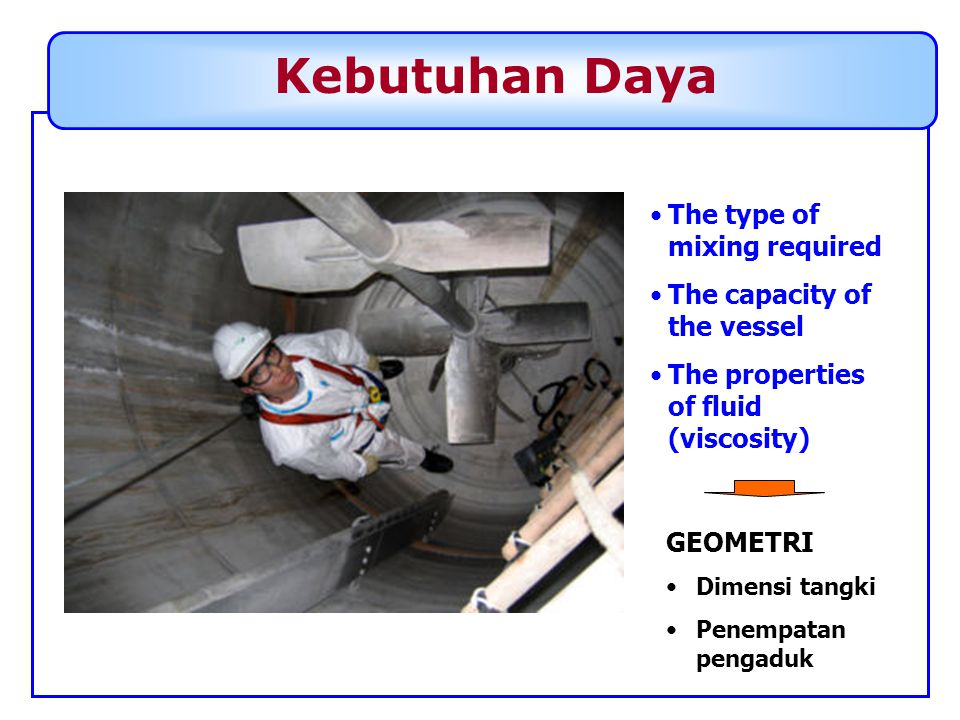 Kebutuhan Daya The type of mixing required The capacity of the vessel