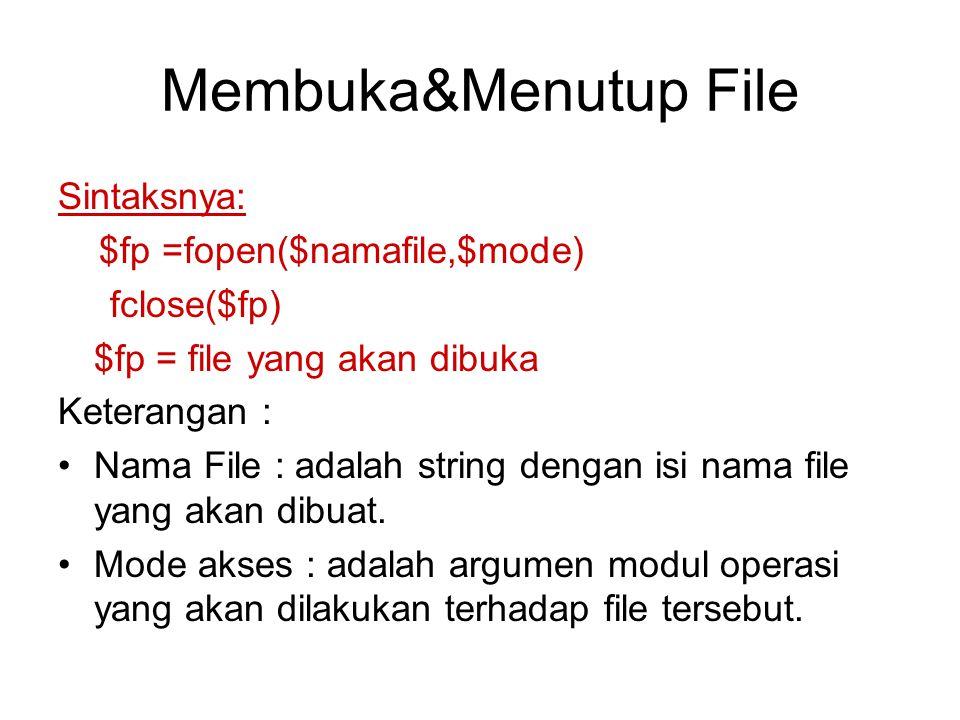 Membuka&Menutup File Sintaksnya: $fp =fopen($namafile,$mode)