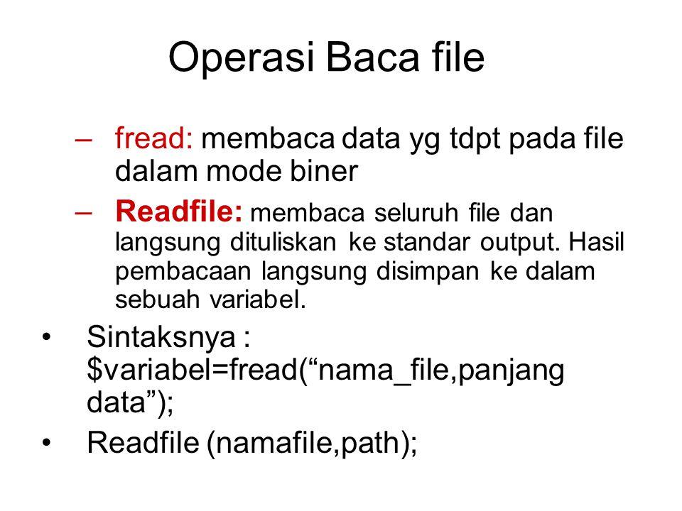 Operasi Baca file fread: membaca data yg tdpt pada file dalam mode biner.