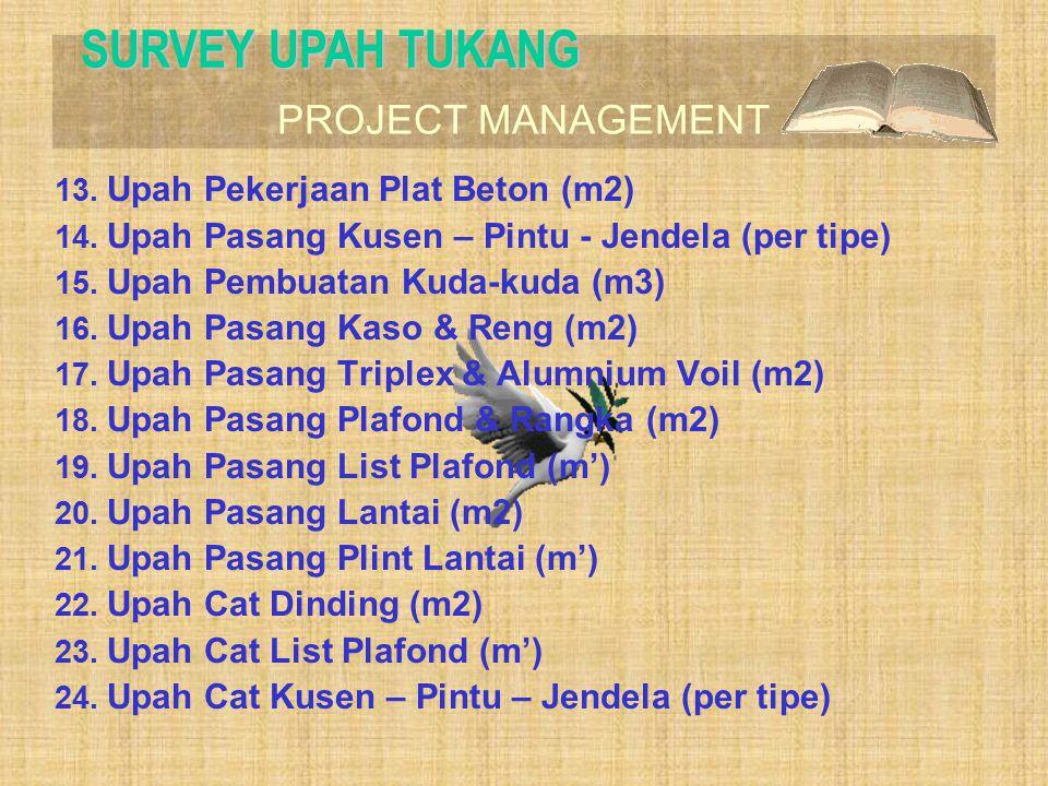 SURVEY UPAH TUKANG Upah Pekerjaan Plat Beton (m2)