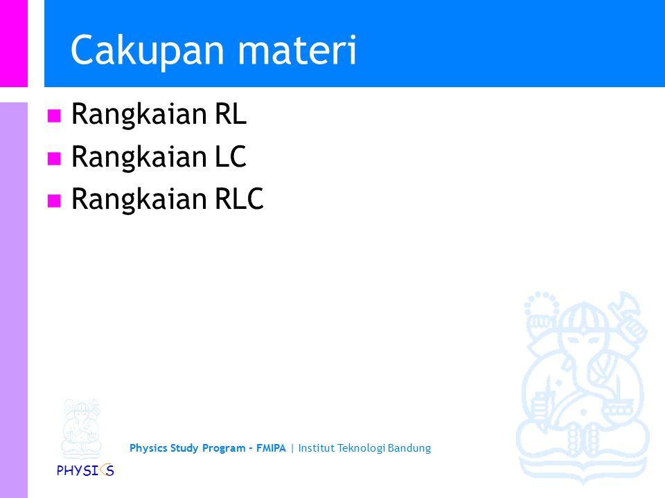 Cakupan materi Rangkaian RL Rangkaian LC Rangkaian RLC