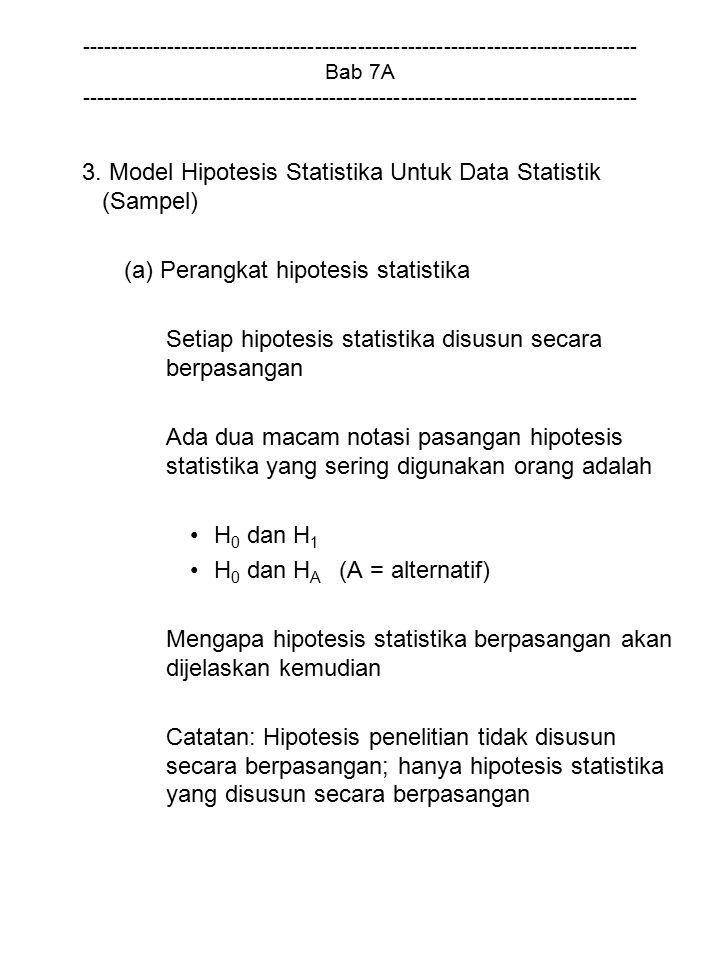 3. Model Hipotesis Statistika Untuk Data Statistik (Sampel)