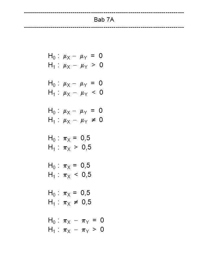 H0 : X  Y = 0 H1 : X  Y > 0 H1 : X  Y < 0