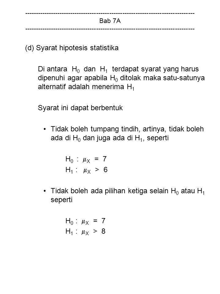 (d) Syarat hipotesis statistika