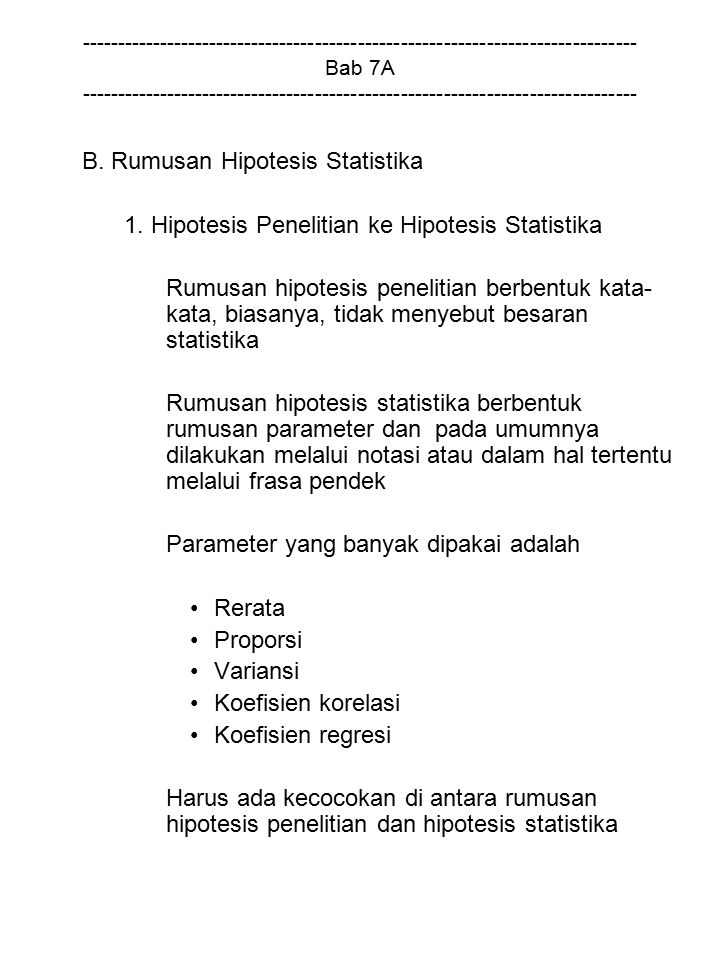 B. Rumusan Hipotesis Statistika