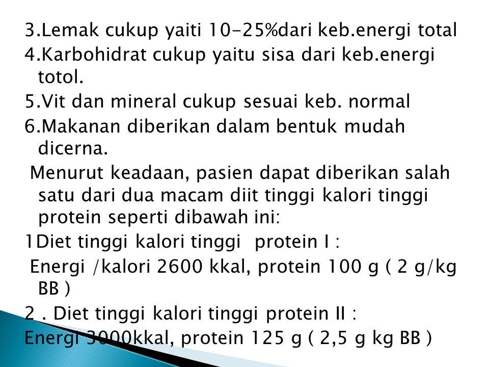 3.Lemak cukup yaiti 10-25%dari keb.energi total