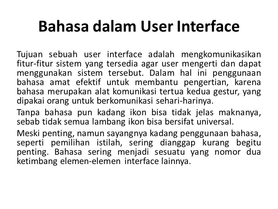 Bahasa dalam User Interface