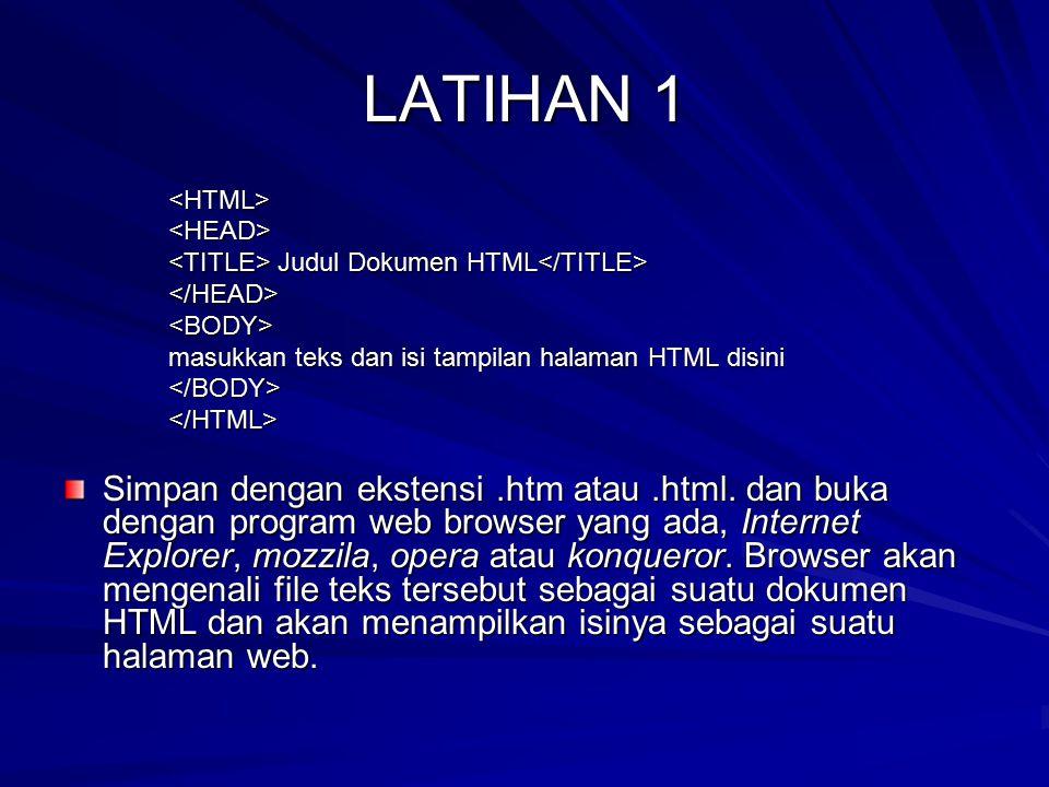 LATIHAN 1 <HTML> <HEAD> <TITLE> Judul Dokumen HTML</TITLE> </HEAD> <BODY> masukkan teks dan isi tampilan halaman HTML disini.