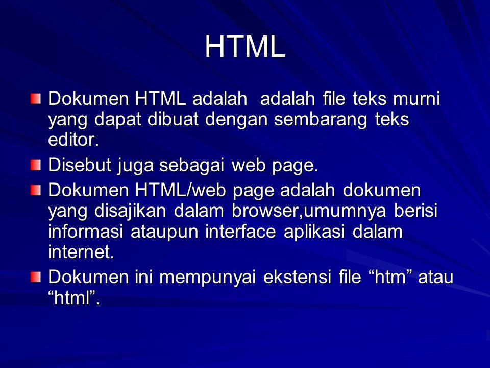 HTML Dokumen HTML adalah adalah file teks murni yang dapat dibuat dengan sembarang teks editor. Disebut juga sebagai web page.