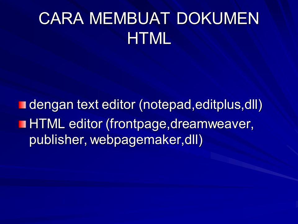 CARA MEMBUAT DOKUMEN HTML