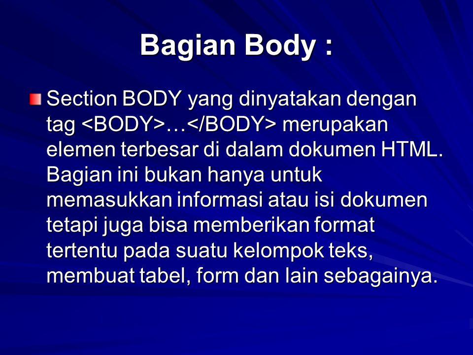 Bagian Body :