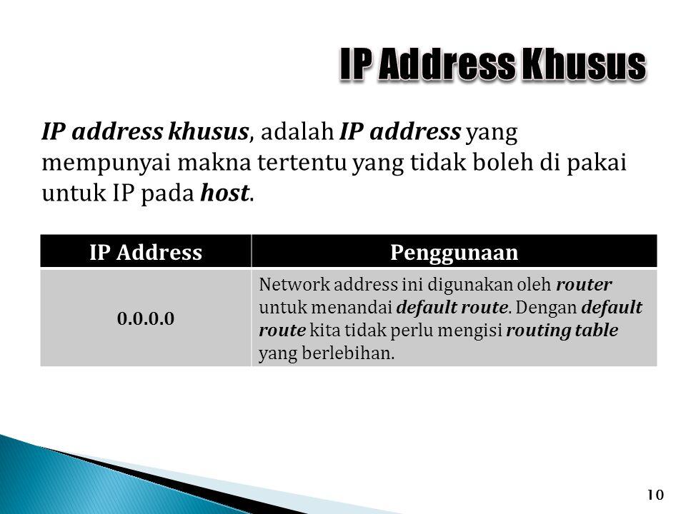 IP Address Khusus IP address khusus, adalah IP address yang mempunyai makna tertentu yang tidak boleh di pakai untuk IP pada host.
