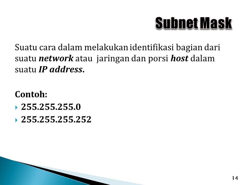 Subnet Mask Suatu cara dalam melakukan identifikasi bagian dari suatu network atau jaringan dan porsi host dalam suatu IP address.