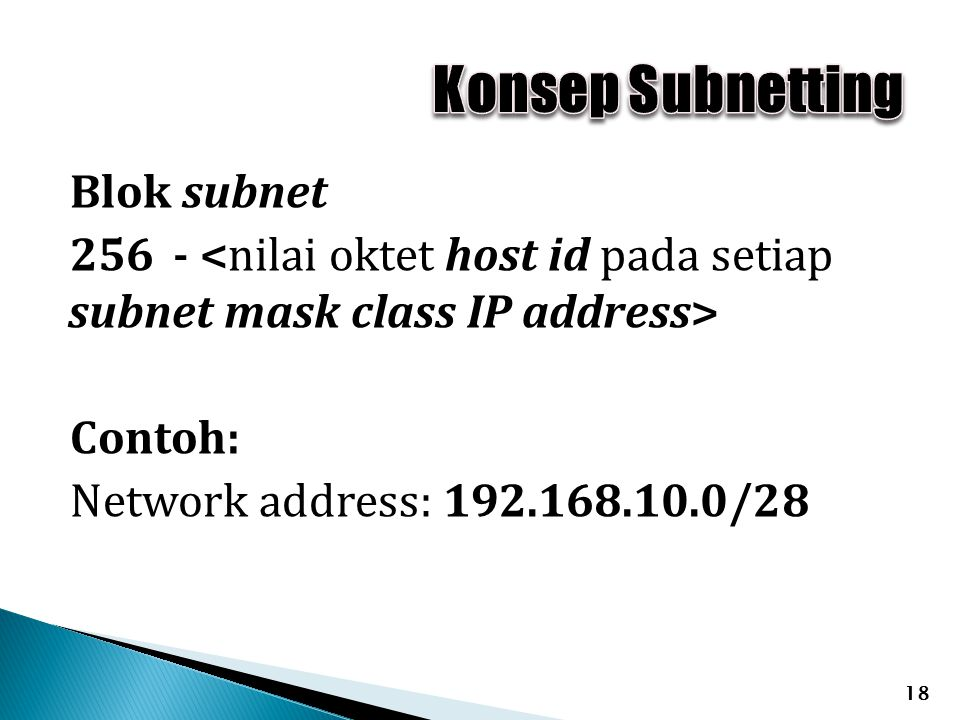 Konsep Subnetting Blok subnet 256 - <nilai oktet host id pada setiap subnet mask class IP address> Contoh: Network address: 192.168.10.0/28