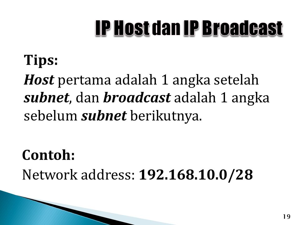 IP Host dan IP Broadcast